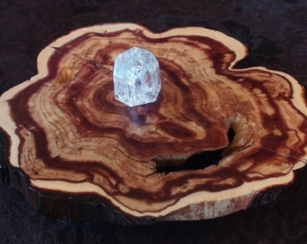 Ancient Elder Rocky Mtn Red Cedar Resurrection Live-Edge Wood Slab Altar Stand Table Crystal Display Rustic Holder Reclaimed Inclusions