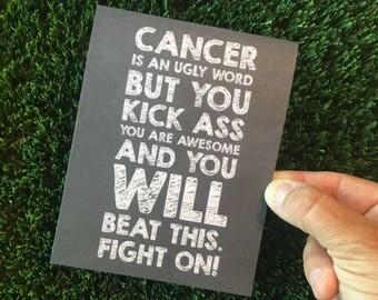 Cancer Sucks Card - Kick Cancer's Ass - Cancer Card - Cancer Support Card - Cancer Encouragement Card - Get Well Card
