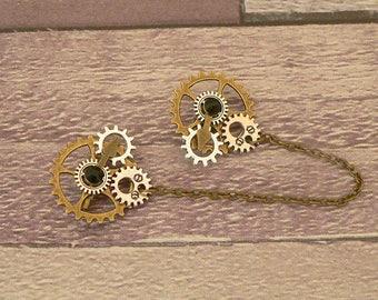 Black Steampunk Collar Pins, Sweater Pins, Steampunk Brooch, Collar Chain, Steampunk Jewellery, Lapel Pins, Collar Brooch