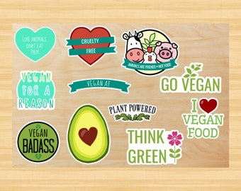 Vegan / Vegetarian Sticker Pack  (Animal Rights, Decal, Vegan Gift, Vegetarian Gift, Go Vegan, Animals Are Friends, Avocado, Activist, Green