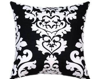 SALE Black and White Pillow, Black Pillow Cover, Damask Pillow Cover, Black White Accent Pillow - Berlin Shadow Black Accent Pillow - Sham C