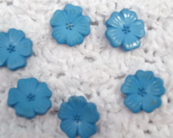 set of 6 blue flat flower buttons
