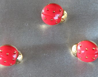 button, baby, ladybug, red and gold, 15 mm in diam.