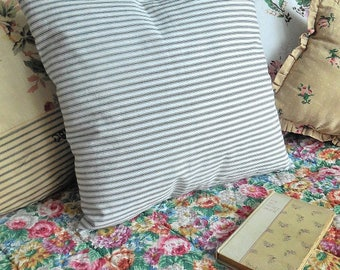 Lovely vintage ticking pillow, ticking cushion, feather pillow, feather cushion