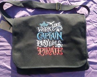 Pirate Captain Bag Messenger cotton canvas Shoulder Bag Embroidered Work like a captain, play like a pirate