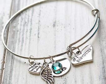 Babysitter Personalized Adjustable Wire Bangle Bracelet