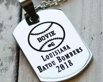 Baseball or Softball Team Player Personalized Engraved Dog Tag Necklace