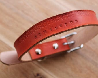 Leather Dog Collar, Handstamped Leather Dog Collar, Personalized Dog Collar, Hand crafted Leather Dog Collar, Leather Conditioning Oil Inc.