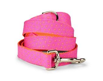 Pink And Orange Tortoise Shell Dog Leash, Hot Pink Dog Leash, Pink Dog Leash, Preppy Dog Leash, Orange Dog Leash, Girl Dog Leash