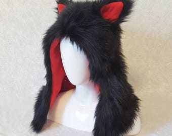 Black and Red Critter Hood