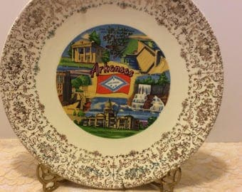 Vintage Souvenir Plate Arkansas Shabby Chic Country Kitchen Collectible Wall Plate