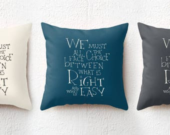 18x18 Harry Potter Pillow, Dumbledore Quote Cushion Cover, We must all face the choice, Bedroom College Dorm Decor Birthday Gift for Teens