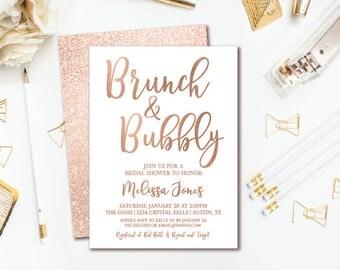 Brunch & Bubbly Bridal Shower Invitation - Rose Gold Glitter Bridal Brunch - Printable Invite