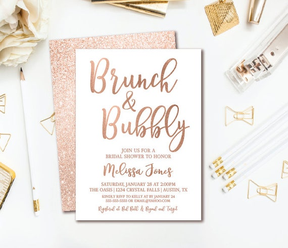 Brunch bubbly bridal shower invitation rose gold glitter bridal il570xn filmwisefo