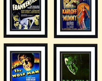 Classic Monsters Poster Set. Frankenstein, The Mummy, Wolfman and Dracula Highest Quality Framing & Prints Many Sizes Available
