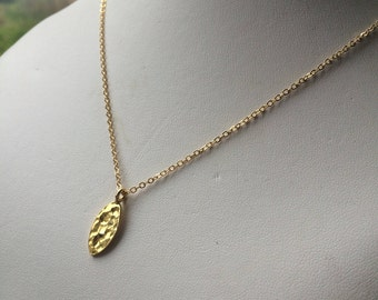 24K Gold hammered leaf necklace choker small leaf pendant necklace simple Gold necklace dainty gold necklace layering Minimalist jewellery