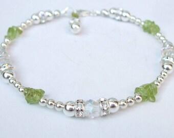 Sterling Silver Peridot bracelet beaded green Peridot gemstone & Swarovski crystal bracelet August Birthstone dainty Peridot jewelry gift