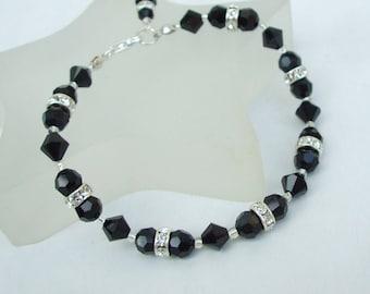 Handmade Black Swarovski crystal bracelet - Sterling Silver