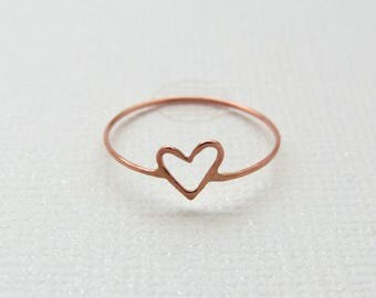 Heart Stacking Ring | Heart Midi Ring | Gold Heart Midi Ring | Dainty Heart Ring | Thin Heart Stacking Ring | Gold Heart Ring | Love Ring