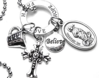 Dietitians Cooks & Homemakers Patron Saint St. Martha Catholic Holy Medal Charm Necklace, Catholic Gift, Prayer Amulet, Devotional Jewelry