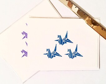 Blue Paper Crane Greeting Card