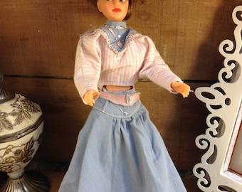 Vintage Ideal Toy Co. 1965 W-12 3 Tammy or Misty? Doll Wearing a 1987 Barbie Western Dress