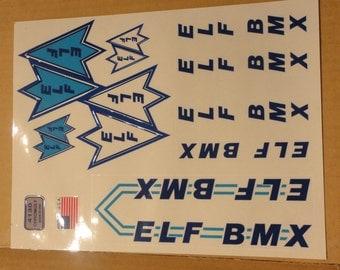 Old School ELF BMX decal set for restoration Vintage bike bicycle 1980's stickers