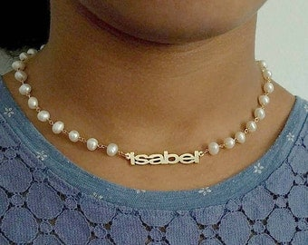 Silver choker necklace with a pearl,Silver name choker,Custom name necklace, Mother's day gift for her, name necklace, name pearl necklace.