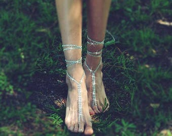 "Silver Rhinestone Barefoot Wrap Sandals - ""Lumina"" Sandals - Feet Jewelry, Beach Wedding, Footless Sandal, Ankle Wrap Jewelry"
