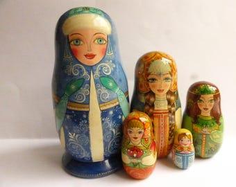 Russian dolls Russian Beauties from fairy tales 5 piece set nesting dolls matryoshka dolls