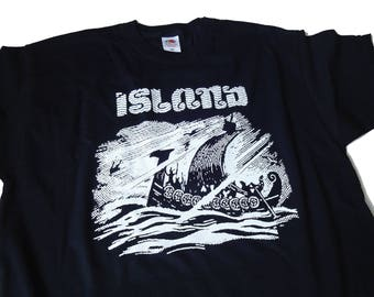 Island T-SHIRT Drakkar Vikings Scandinavia Norse Iceland Pagan Heathen