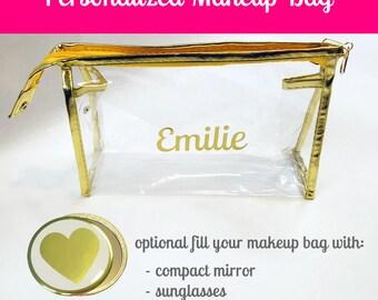 Personalized Bridesmaid Makeup Bag- Bridesmaid Cosmetic Bag- Personalized Bridesmaid Cosmetic Bag- Gold Cosmetic Bag- Gold Makeup Bag