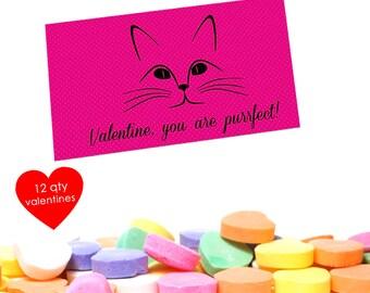 12 cat valentine cat valentine card kids class valentines kids valentines cards - Cat Valentine Cards