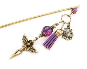 Metal hair stick - Angel Knight - bright purple black glass beads - japanese kanzashi, hair pin, chopstick hair piece ornament decoration