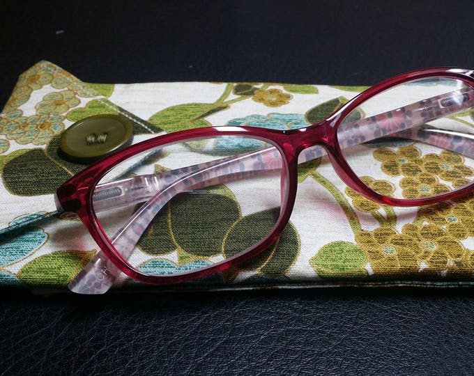 EYE GLASS CASES-Green n' Gold Floral (Phone & glasses not included)