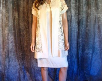 Vintage 1960s Ecru Wiggle Dress Matching Sheer Lace Short Sleeve Coat Cocktail Wedding Bridal Party Vintage 60s Dress and Coat Set  XS