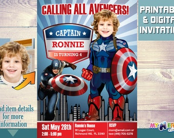 Captain America Birthday Invitation. Captain America Birthday Ideas. Captain America Party Ideas. Avengers Party Ideas. 075