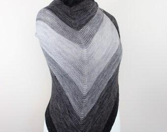 merino ombre shawl, black and gray handknit shawl, triangle wrap, oversized shawl, modern wrap, geometric wrap