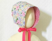 Reversible Pink Floral Baby Bonnet, Sun Bonnet, Toddler Bonnet, Baby Summer Hat, Brimmed Bonnet, Summer Baby Bonnet, Spring Bonnet,