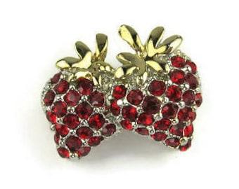 Red Rhinestone Stawberry Pin