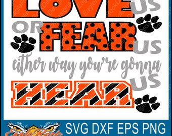 Paw| Love Us Fear Us| SVG| DXF| EPS| Png| Cut File| Tigers| Bears| Panthers| Wolves| Vector File| Instant Download