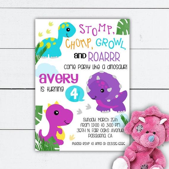 Dinosaur birthday girl girl dinosaur birthday invitation girl il570xn filmwisefo