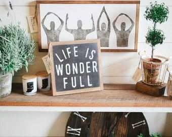 1'X1' Life Is Wonderful Framed Wood Sign