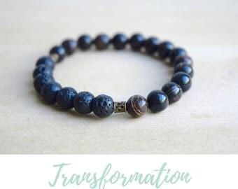 Obsidian Bracelet / protective gemstones, grounding jewelry, mom gift from son, protection bracelet, gift for yogi, energy healing items