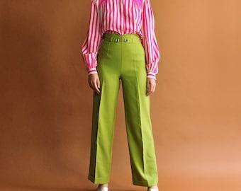 Lime Green Pants, 90s Minimal Trousers, High Waist Pants, Vintage 90s Pants, Wide Leg Pants, Vibrant Summer Pants - Size 3