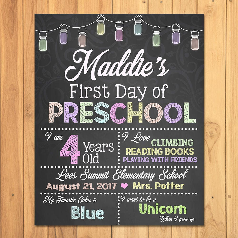 First Day of Kindergarten Chalkboard Sign Printable Photo Prop - Chalkboard First Day of School - Personalized Back to School - ANY GRADE