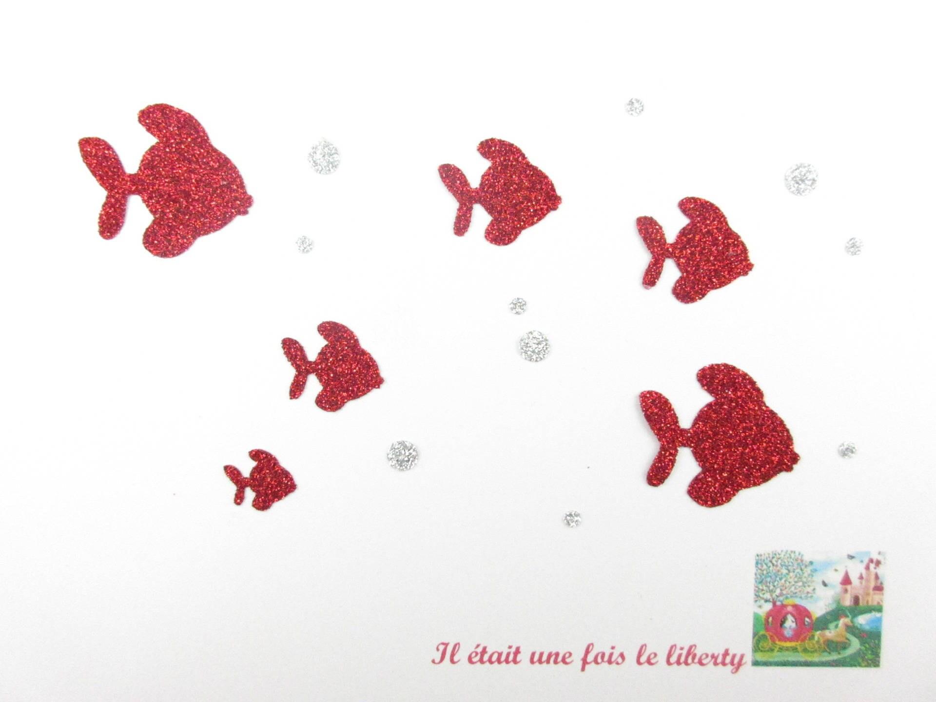 Patch repasser appliqu s thermocollants poissons en tissu paillet rouge argent motifs - Transfert tissu fer a repasser ...