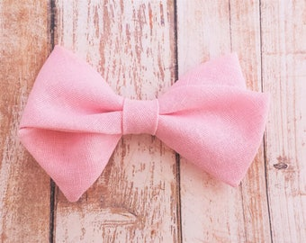 Baby Pink Hand-Tied Fabric Bow Clip or Nylon Headband / Sailor Bow Headband / Pink Hand Tied Bow / Baby Pink Sailor Bow Clip / Bow Headband