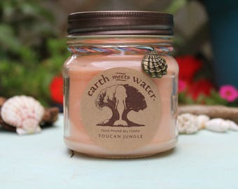 Toucan Jungle 8 oz Soy Candle Hand Poured