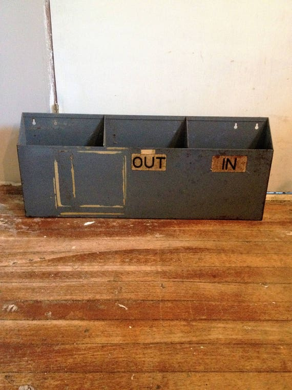 Vintage Industrial Office File Holder, Magazine Rack, Mail Sorter, Industrial Farmhouse